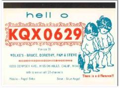 KQX-0629 Bruce Wolke Mission Hills CA 1960s Vintage Postcard CB QSL