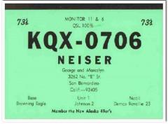 KQX-0706 George Neiser San Bernadino CA 1960s Vintage Postcard CB QSL