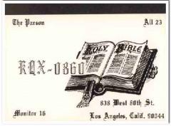 KQX-0860 Parson Los Angeles CA 1960s Vintage Postcard CB QSL Card