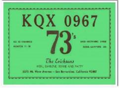 KQX-0967 Merl Erickson San Bernadino CA 1960s Vintage Postcard CB QSL