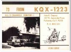 KQX-1223 John Cropsey Fullerton CA 1960s Vintage Postcard CB QSL
