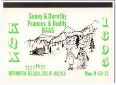 KQX-1695 Sonny Haas Hermosa Beach CA 1960s Vintage Postcard CB QSL 2
