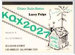 KQX-2027 Larry Feige Los Angeles CA 1960s Vintage Postcard CB QSL 2