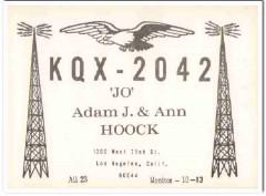 KQX-2042 Adam Hoock Los Angeles CA 1960s Vintage Postcard CB QSL