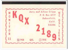 KQX-2189 Jerry Griggs Bakersfield CA 1960s Vintage Postcard CB QSL