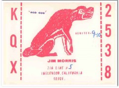 KQX-2538 Jim Morris Inglewood CA 1960s Vintage Postcard CB QSL Card