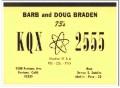 KQX-2555 Doug Braden Fontana CA 1960s Vintage Postcard CB QSL Card 1