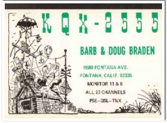 KQX-2555 Doug Braden Fontana CA 1960s Vintage Postcard CB QSL Card 2