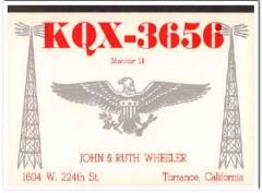 KQX-3656 John Wheeler Torrance CA 1960s Vintage Postcard CB QSL 2