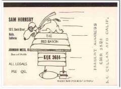 KQX-3684 Sam Hornsby Rialto CA 1960s Vintage Postcard CB QSL Card
