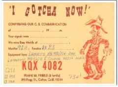 KQX-4082 Frank Pribble Colton CA 1960s Vintage Postcard CB QSL Card
