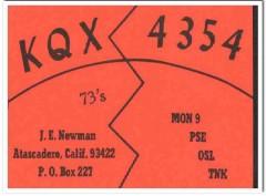 KQX-4354 J E Newman Atascadero CA 1960s Vintage Postcard CB QSL