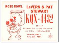 KQX-4432 Pat Stewart Rialto CA 1960s Vintage Postcard CB QSL Card 2
