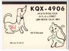KQX-4906 Jim Sidlin Long Beach CA 1960s Vintage Postcard CB QSL 1