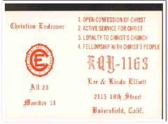 KQY-1163 Lee Elliott Bakersfield CA 1960s Vintage Postcard CB QSL