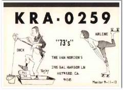 KRA-0259 Dick Van Norden Hayward CA 1960s Vintage Postcard CB QSL