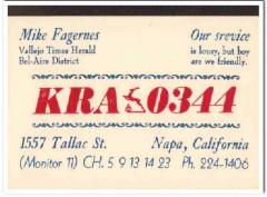 KRA-0344 Mike Fagernes Napa CA 1960s Vintage Postcard CB QSL Card