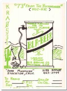 KRA-0531 John Mickelsen Stockton CA 1960s Vintage Postcard CB QSL