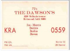 KRA-0559 Jim Dawson Richmond CA 1960s Vintage Postcard CB QSL Card