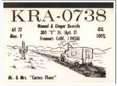 KRA-0738 Manuel Querido Fremont CA 1960s Vintage Postcard CB QSL