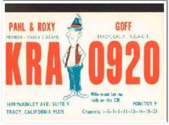 KRA-0920 Pahl Goff Tracy CA 1960s Vintage Postcard CB QSL Card
