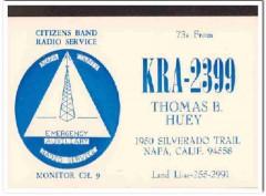 KRA-2399 Thomas Huey Napa CA 1960s Vintage Postcard CB QSL Card