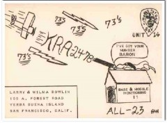 KRA-2478 Larry Bowlin San Francisco CA 1960s Vintage Postcard CB QSL