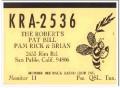 KRA-2536 Bill Roberts San Pablo CA 1960s Vintage Postcard CB QSL 1