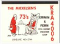 KRA-4006 Erwin Mickelsen Stockton CA 1960s Vintage Postcard CB QSL