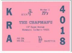 KRA-4018 Ken Chapman Richmond CA 1960s Vintage Postcard CB QSL Card