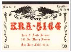 KRA-5164 Jack Briscoe San Jose CA 1960s Vintage Postcard CB QSL