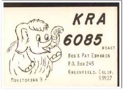 KRA-6085 Bob Edwards Greenfield CA 1960s Vintage Postcard CB QSL