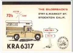 KRA-6317 John Bilderback Stockton CA 1960s Vintage Postcard CB QSL