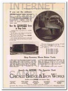 Chicago Bridge Iron Works 1921 Vintage Ad Oil 5ring55 Superior Tank