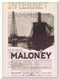 Maloney Tank Mfg Company 1921 Vintage Ad Oil Storage Worth Weight Gold