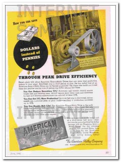american pulley company 1948 peak drive efficiency vintage ad
