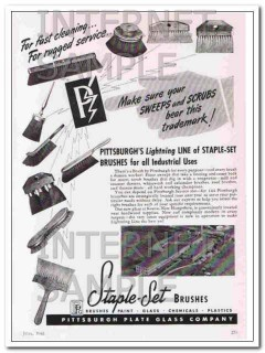 pittsburgh plate glass company 1948 staple-set brushes vintage ad