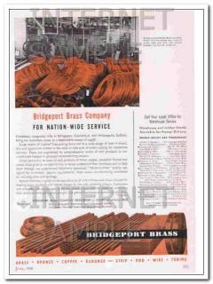 bridgeport brass company 1948 nation-wide service vintage ad