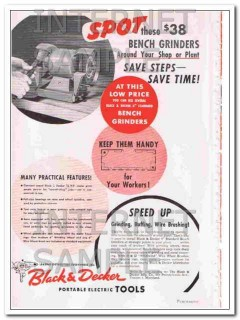 black and decker mfg company 1948 spot bench grinder tool vintage ad
