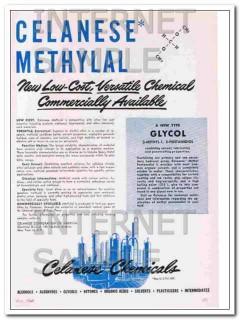 celanese corporation america 1948 methylal chemical vintage ad