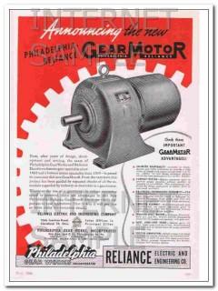 philadelphia-reliance 1948 gear works electric gearmotor vintage ad