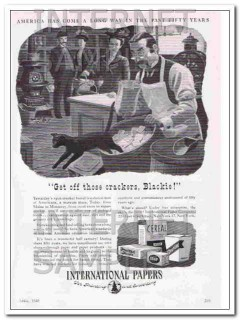 international paper company 1948 cat get off those crackers vintage ad