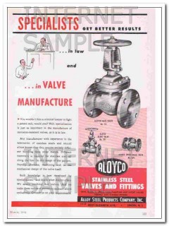 alloy steel products company 1948 specialists in valves vintage ad