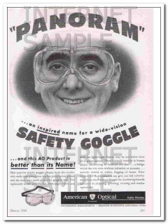 american optical company 1948 panoram safety goggle vintage ad