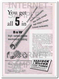 babcock and wilcox tube co 1948 high carbon-chrome tubing vintage ad