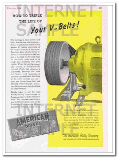 american pulley company 1948 triple the life of v-belts vintage ad