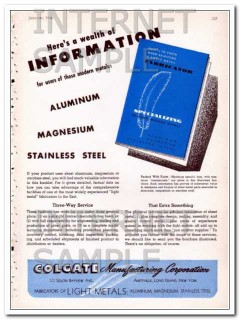 colgate manufacturing corp 1948 information modern metals vintage ad