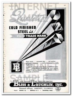 bliss and laughlin inc 1948 quality cold finished steel vintage ad