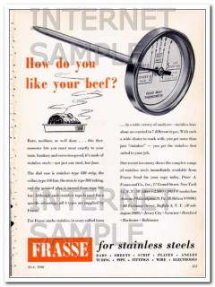 peter a frasse company 1948 how do you like beef stainless vintage ad