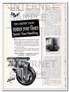 bond foundry machine company 1948 caster spares the floor vintage ad